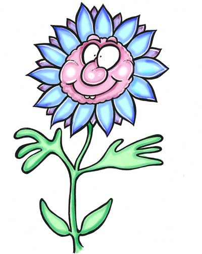 Cartoon flower blue petals