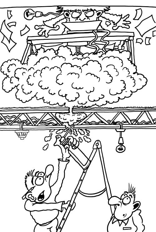 drawing for fun cartoon black and white fire stopping with intumescent foam