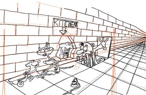 rats robbing kitchen basic sketch