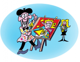 Nezzy-cartoonist-at-easel