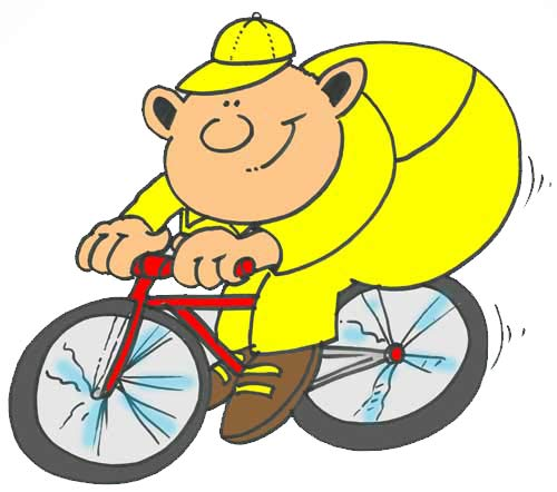 Large man in yellow on bicycle