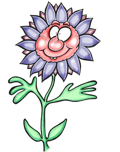 Cartoon flower purple petals