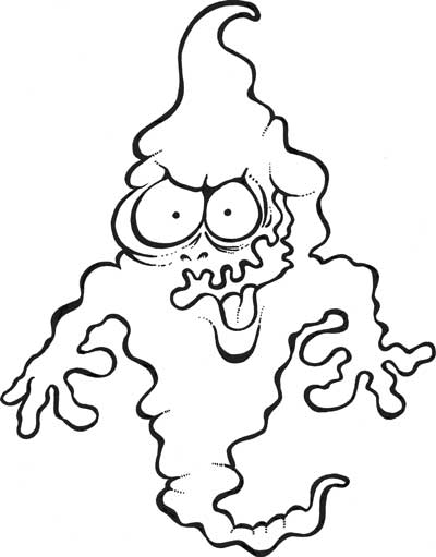 black and white ghost cartoon
