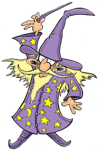 wizard purple gown and hat cartoon