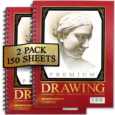 artists choice sketch pads 2 pack 150 sheets 9x12