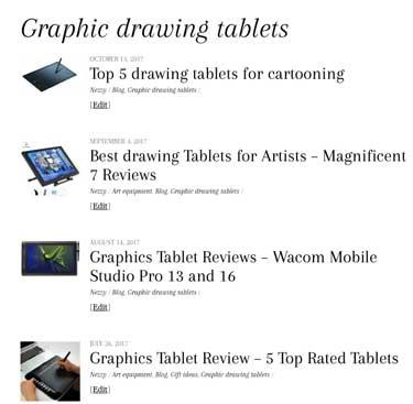 art graphics drawing tablet menu