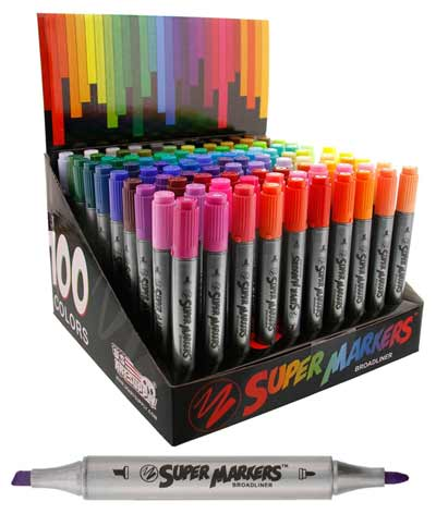 super markers twin tip broad liner marker set 100 unique colors