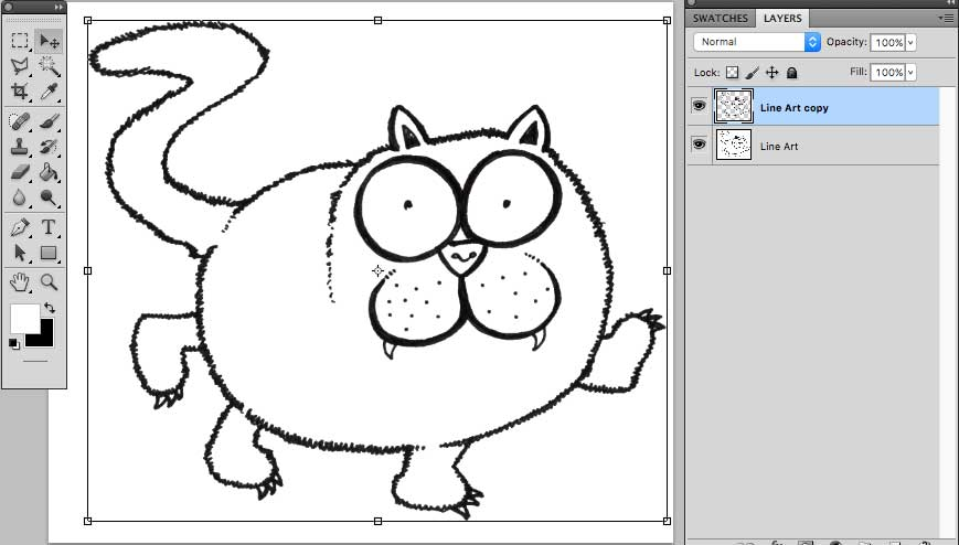 Line Art Layer : Using photoshop and elements layers to thicken