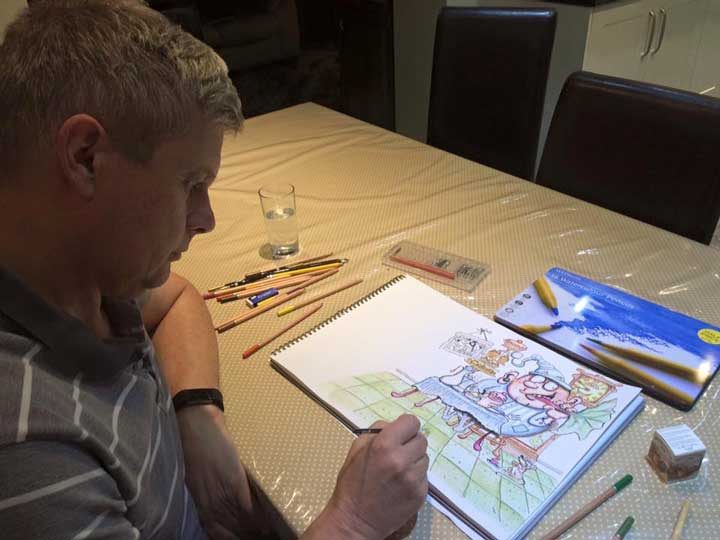Rob nesbitt of the procartoon podcast working on his latest chidrens picture book